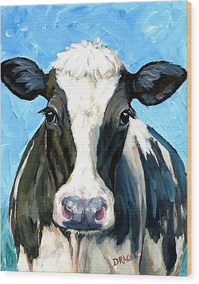Holstein Cow 1 Head And Chest Wood Print by Dottie Dracos
