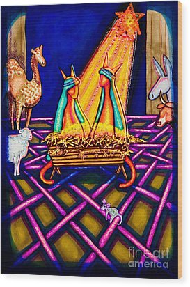 Holy Christmas Kats Wood Print by Laurie Tietjen