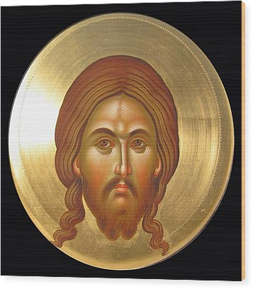 Holy Face Mandilion Wood Print by Daniel Neculae