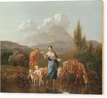 Holy Family At A Stream Wood Print by Karel Dujardin