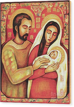 Wood Print featuring the painting Holy Family by Eva Campbell