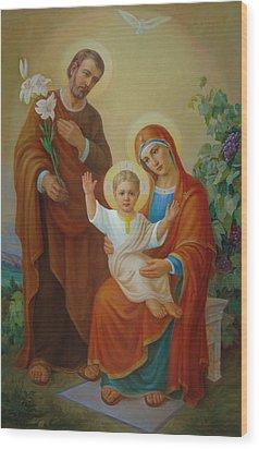 Holy Family With The Vine Tree Wood Print by Svitozar Nenyuk