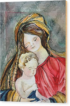 Holy Mother And Child Wood Print by Mindy Newman