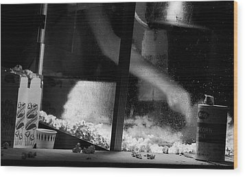 Homage To Movie Popcorn Wood Print