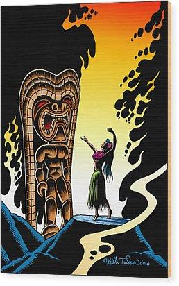 Homage To Tiki Wood Print by Keith Tucker