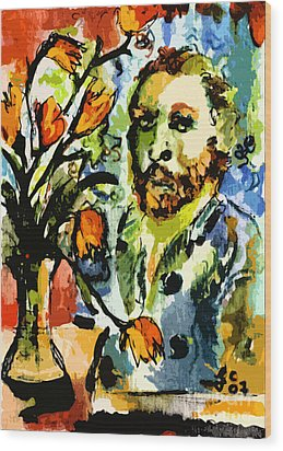 Homage To Vangogh Tulips And Portrait Wood Print by Ginette Callaway