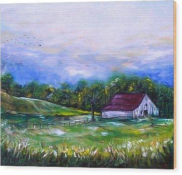 Wood Print featuring the painting Home by Emery Franklin
