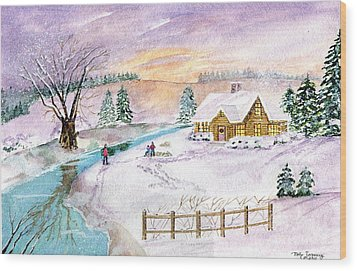 Wood Print featuring the painting Home For Christmas by Melly Terpening