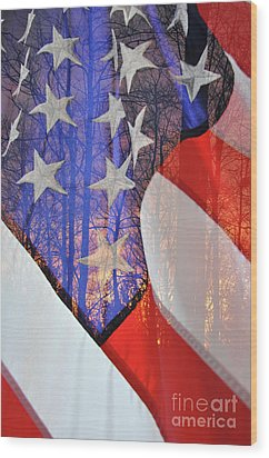 Wood Print featuring the photograph Home Of The Free by Gina Savage