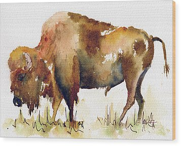 Wood Print featuring the painting Home On The Range Buffalo by Pat Katz