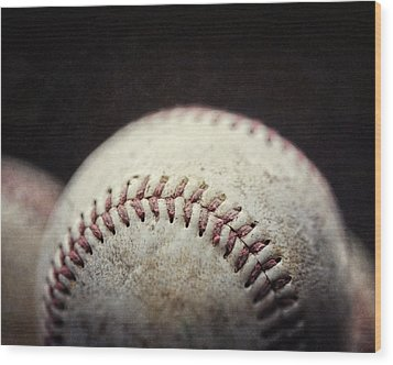 Home Run Ball Wood Print by Lisa Russo