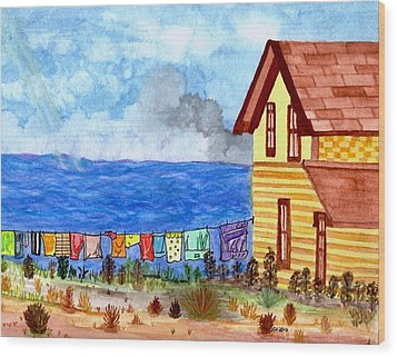 Home Sweet Home Wood Print by Connie Valasco