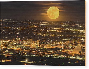 Home Sweet Hometown Bathed In The Glow Of The Super Moon  Wood Print