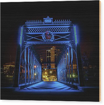 Homeless Winter Night On Wells Street Bridge - Fort Wayne Indiana Wood Print