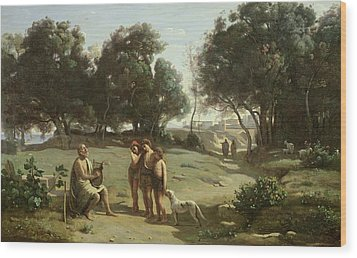 Homer And The Shepherds In A Landscape Wood Print by Jean Baptiste Camille Corot