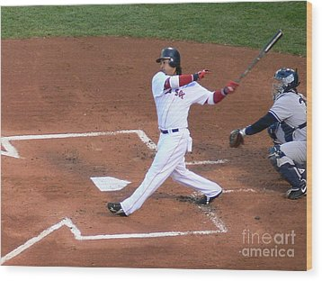 Homerun Swing Wood Print by Kevin Fortier