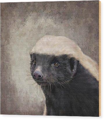 Honey Badger Wood Print