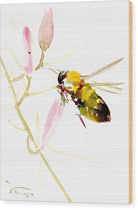 Honey Bee And Pink Flower Wood Print