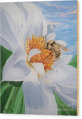 Wood Print featuring the painting Honey Bee On White Flower by Sigrid Tune