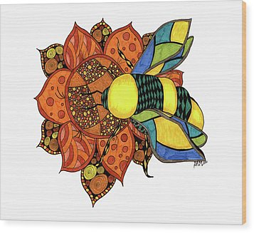 Honeybee On A Flower Wood Print