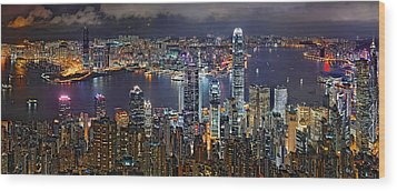 Hong Kong At Dusk Wood Print by Jeff S PhotoArt