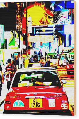 Hong Kong Cabs Wood Print