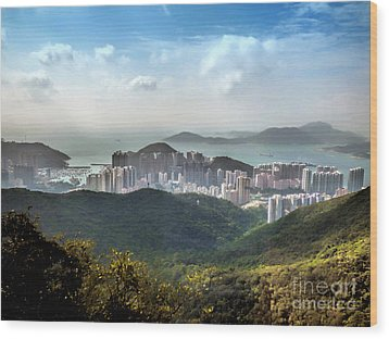 Hong Kong From Victoria Peak Wood Print by Lynn Bolt