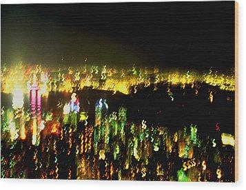 Hong Kong Harbor Abstract Wood Print by Brad Rickerby