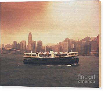 Hong Kong Harbour 01 Wood Print by Pixel  Chimp