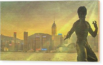 Hong Kong Lights Wood Print by Loriental Photography