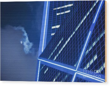 Hong Kong Moonlight Wood Print by Ray Laskowitz - Printscapes
