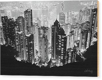 Hong Kong Nightscape Wood Print