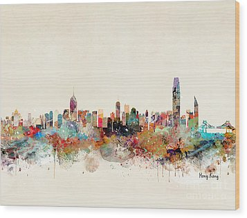 Wood Print featuring the painting Hong Kong Skyline by Bri B