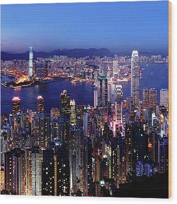 Hong Kong Victoria Harbor At Night Wood Print by Sam