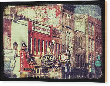 Honky Tonk Row - Nashville Wood Print