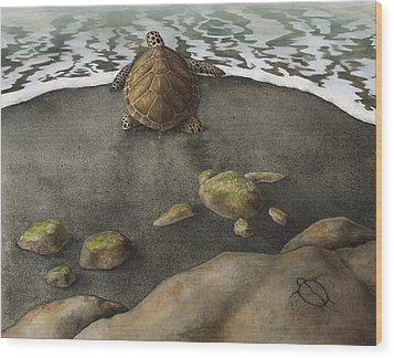 Honu Beach Wood Print by Kirsten Carlson