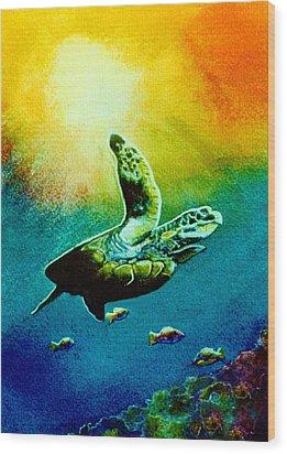Honu Hawaiian Sea Turtle #154  Wood Print by Donald k Hall