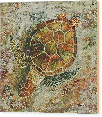 Wood Print featuring the painting Honu On The Beach by Darice Machel McGuire