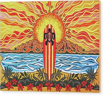 Honu Surf Wood Print by Debbie Chamberlin