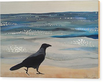 Hooded Crow At The Black Sea By Dora Hathazi Mendes Wood Print