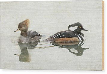 Wood Print featuring the photograph Hooded Mergansers by Angie Vogel