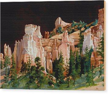 Hoodoos Wood Print by Lester Nielsen