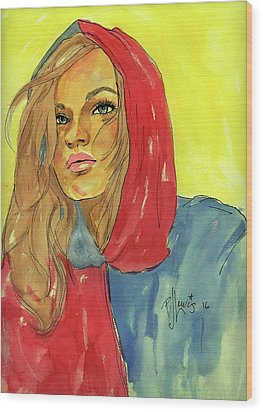 Wood Print featuring the painting Hoody by P J Lewis
