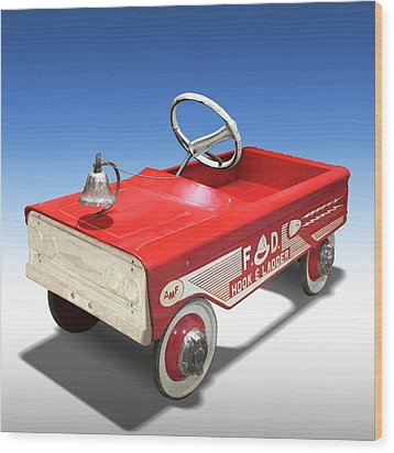 Wood Print featuring the photograph Hook And Ladder Peddle Car by Mike McGlothlen