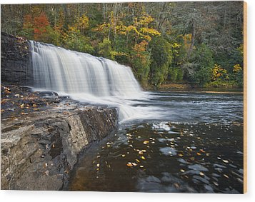 Hooker Falls In Autumn - Fall Foliage In Dupont State Forest Wood Print by Dave Allen
