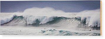 Hookipa Maui Big Wave Wood Print by Denis Dore