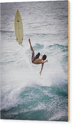 Hookipa Maui Flying Surfer Wood Print by Denis Dore