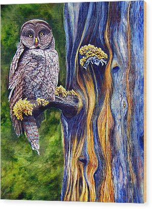 Hoo's Look'n Wood Print by JoLyn Holladay