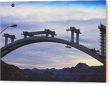 Hoover Dam Bridge Under Construction Wood Print