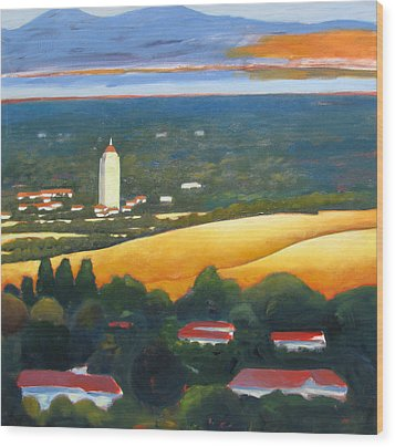 Hoover Tower From Hills Wood Print